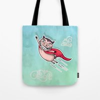 superhero Tote Bags featuring Superhero by Aleksandra Jevtovic