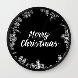 Merry Christmas Black and White Wall Clock