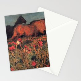 Wild Horses, Red Poppy, & Shepard Night landscape painting  by Mikhail Vrubel Stationery Cards