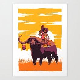 Buffallo-Rider Art Print