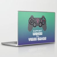 video games Laptop & iPad Skins featuring Support Women in Video Games by Inappropriately Adorable