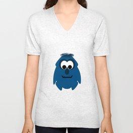 Silly Little Dark Blue Monster Unisex V-Neck