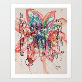 Summer in the City Abstract Watercolor Doodle Art Print