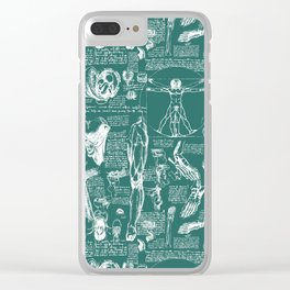 Da Vinci's Anatomy Sketchbook // Genoa Green Clear iPhone Case