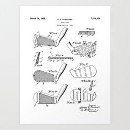 Golf Clubs Patent - Golfing Art - Black And White Art Print