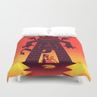 demon Duvet Covers featuring Pizza Demon by jublin