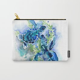 Sea Turtle Turquoise Blue Beach Underwater Scene Green Blue design Carry-All Pouch
