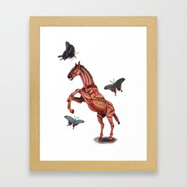 horse and butterfly Framed Art Print