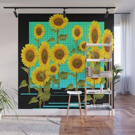 SUNFLOWER FIELD BLACK-TURQUOISE GRAPHIC Wall Mural