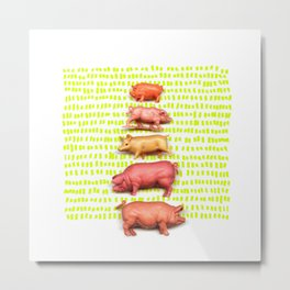 Stack of pigs on the green green grass of home Metal Print