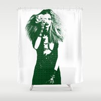 calvin Shower Curtains featuring Fashion Lara Stone Calvin Klein by fashionistheonlycure