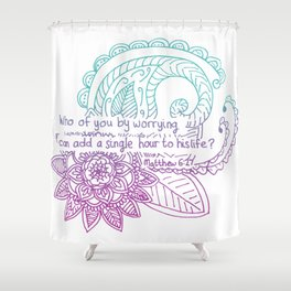 Equanimity / Matthew 6:27 / Pink Blue Shower Curtain