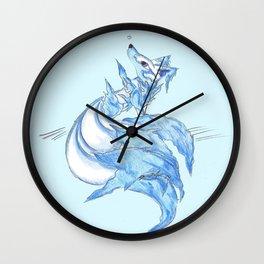 Ice Kitsune Wall Clock