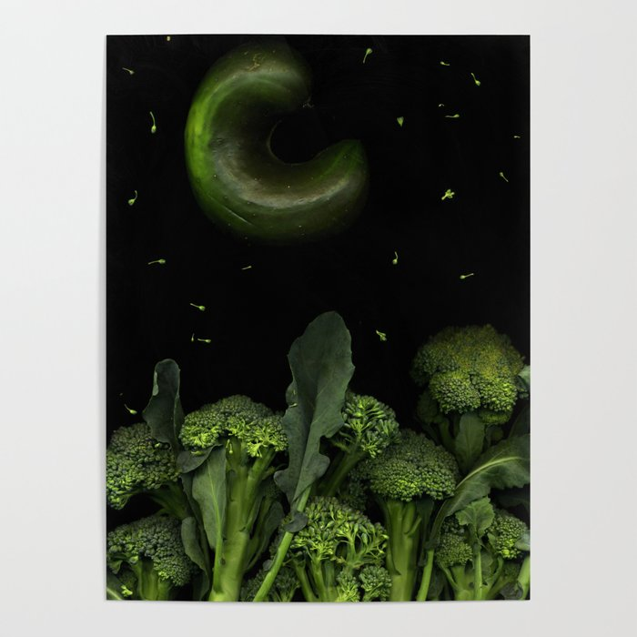 Moon over Broccoli Poster