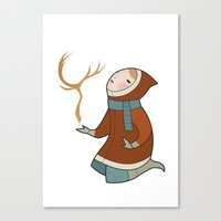 antler Canvas Prints featuring Antler by breakfastjones