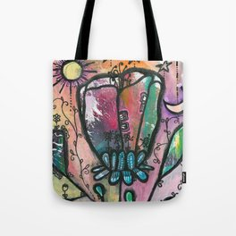 Bloom under sun moon and stars Tote Bag