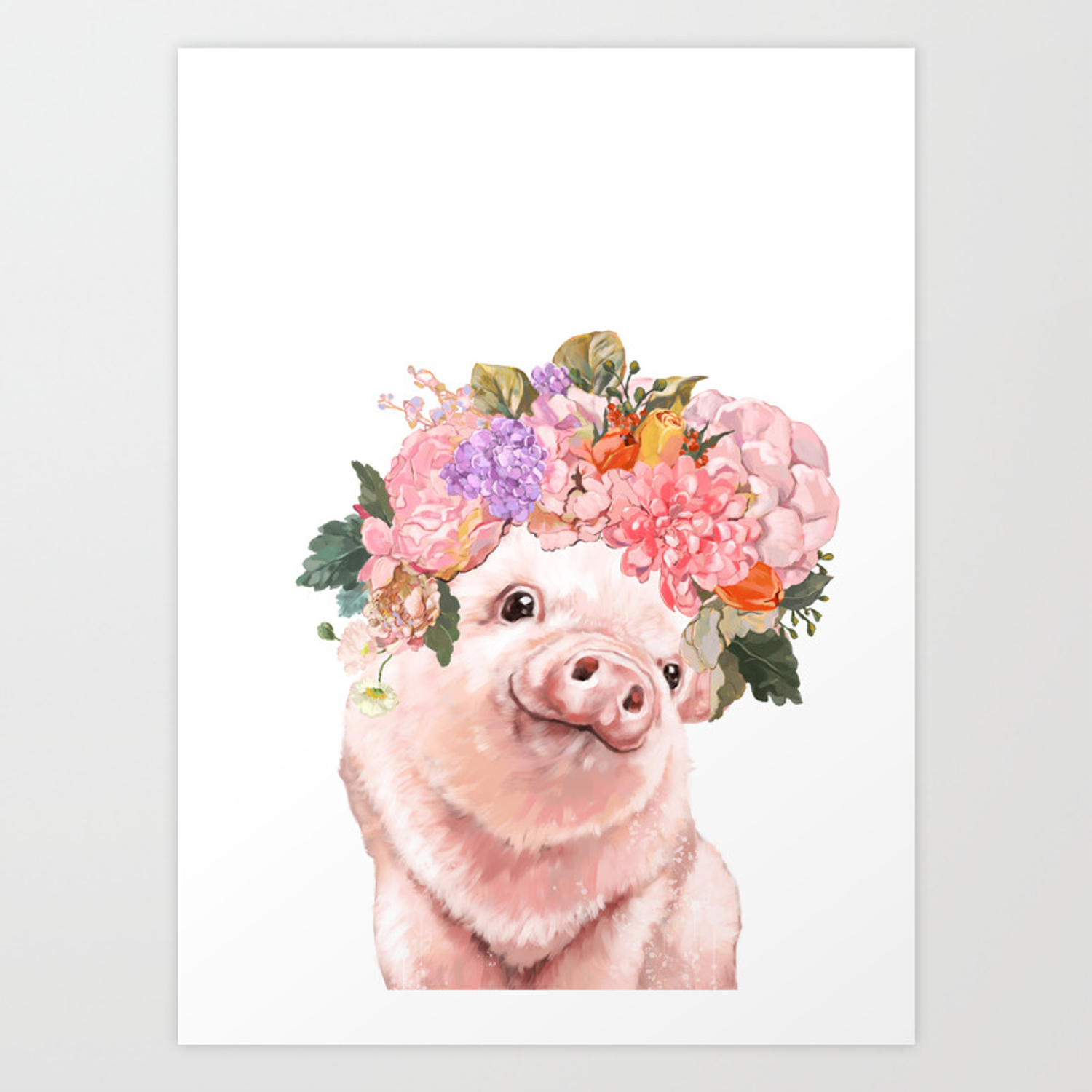 Lovely baby pig with flowers crown art print