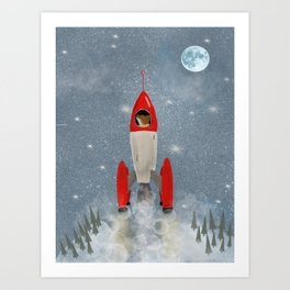 mr fox goes to the moon Art Print