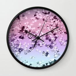 Unicorn Girls Glitter Stars #1 #shiny #pastel #decor #art #society6 Wall Clock