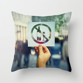 no alcohol Throw Pillow