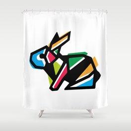 Rainbow Anigami Bunny Shower Curtain