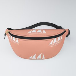 White Sailboat Pattern on coral background Fanny Pack
