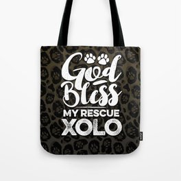 God Bless My Rescue Xolo Leopard Print Dog Paw Pattern Gift Tote Bag