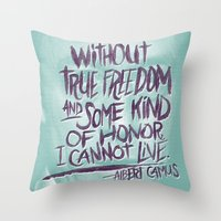 camus Throw Pillows featuring OH NO CAMUS AGAIN by Josh LaFayette