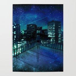 Girl In Skirt Watching Over Wonderful Starry Urban Skyline At Night Cartoon Scenery Ultra Resolution Poster