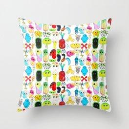 Rainbow Microbes Throw Pillow