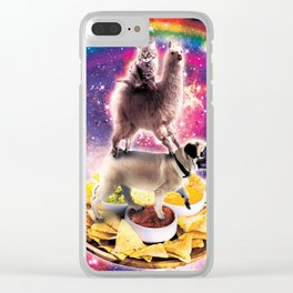 Space Cat Llama Pug Riding Nachos Clear iPhone Case