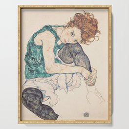 SEATED WOMAN WITH BENT KNEE - EGON SCHIELE Serving Tray