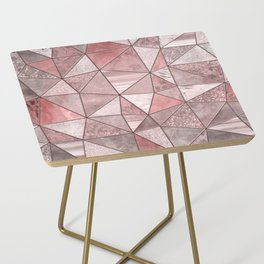 Soft Pink Coral Glamour Gemstone Triangles Side Table