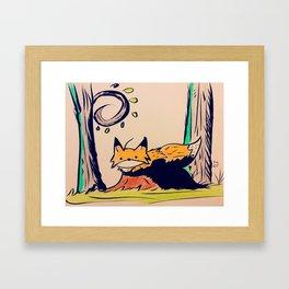 Fox in woods Framed Art Print
