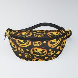 Orange Festive Scary and Spooky Halloween Pumpkins Fanny Pack