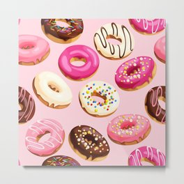 Retro Pink Doughnuts Metal Print