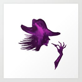 DIVA WITH HAT and Lipstick - PAINTED - Gorgeous VIOLET Art Print