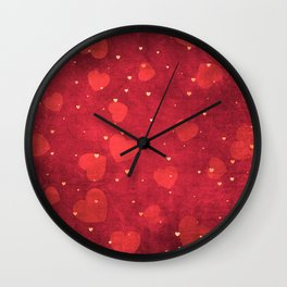 Valentine Red and Gold Heart Pattern Wall Clock