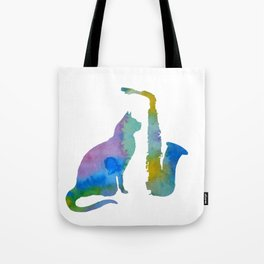 Cat With Saxophone Art Tote Bag
