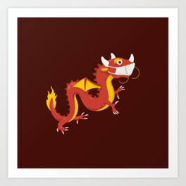 Dragon with Mask Art Print