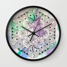 Pastel Mandala/Crystal Grid, Sacred Geometry Wall Clock