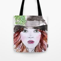 emma stone Tote Bags featuring Emma Stone by Vicky Ink.