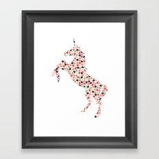 Multi Heart Unicorn Framed Art Print