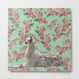 Floral Llama Metal Print