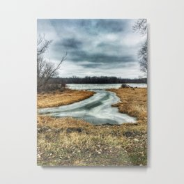 Riverfront - Steel Dam Area - Milan, IL - Winter 2017 Metal Print