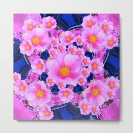 Blue Sapphire Color & Pink Roses Garden Art Metal Print