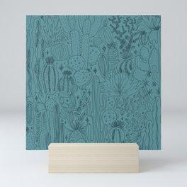 Cactus Scene in Blue Mini Art Print