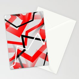 Mass Hysteria Abstract - Red, Black, Gray, White Stationery Cards