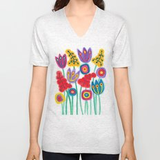 raw flower garden with tulips Unisex V-Neck