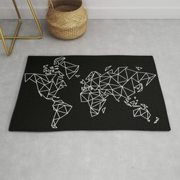 White on Black Geometric Low Poly Map of The World / Polygon geometry Rug